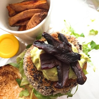 Black Bean Burgers with Mushroom Bacon and Guacamole