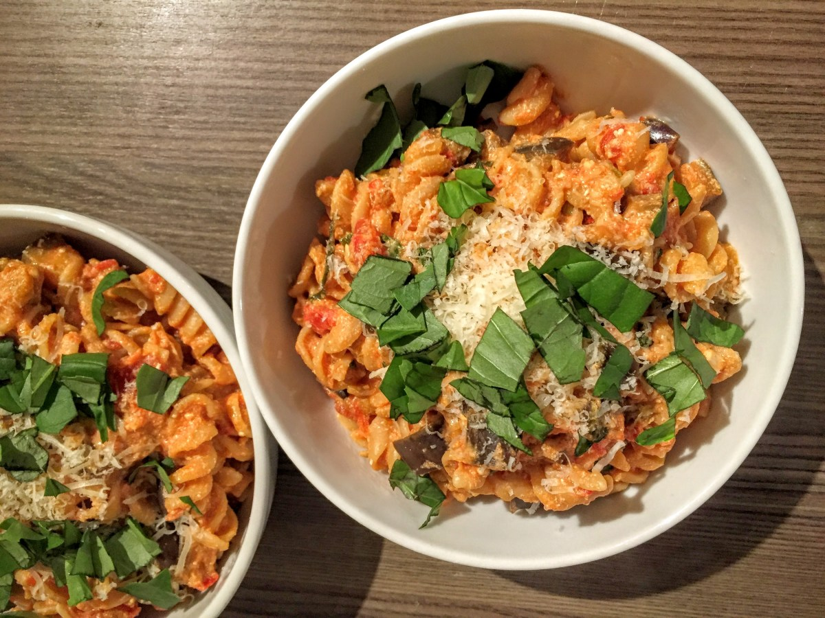 Creamy Chilli, Tomato and Aubergine Pasta