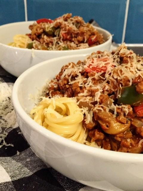 Chunky Veggie Spaghetti Bolognese   Vegetarian Recipes   Vegetarian Pasta   Susty Meals   Sarah Irving   Manchester Food Blogger