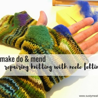 Repairing knitting with needle felting