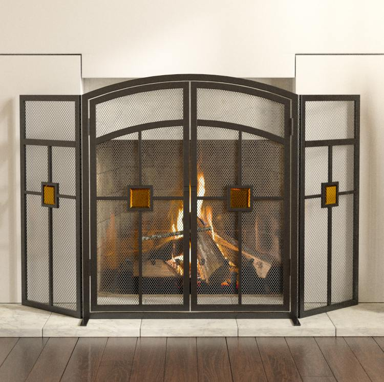 Panacea 15137 3 Panel Fireplace Screen Mission With Glass