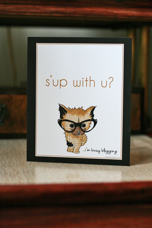 Cute cat blogger greeting card