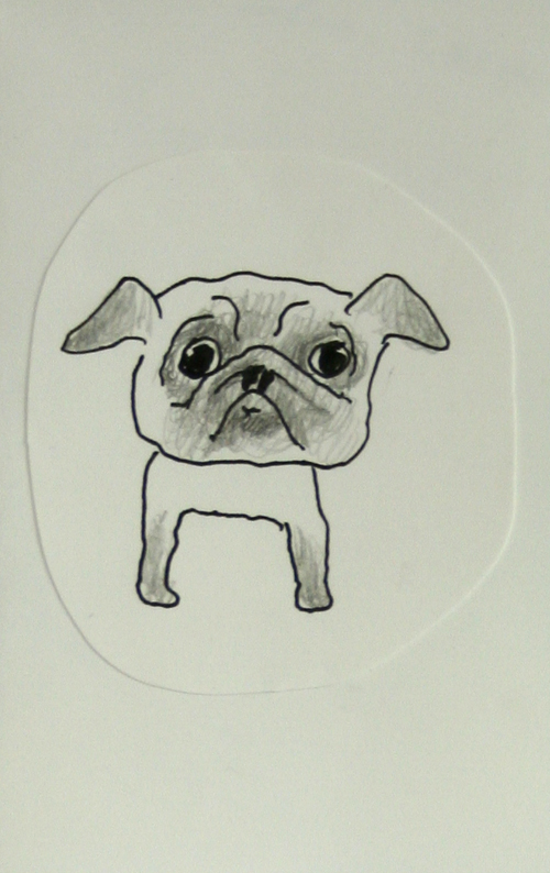 Pug drawing by Melanie Bag and a Beret artist