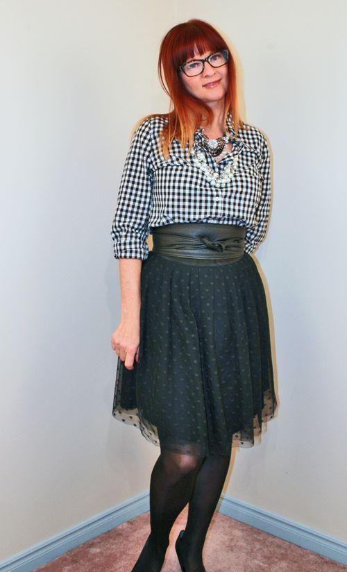Black polka dot tulle skirt Anthropologie
