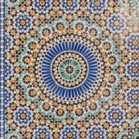 Colorful mosaic tiles close up at the Grand Mosque Paris
