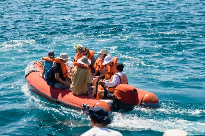 Tour Guests Explore Waters Around Seymour Island