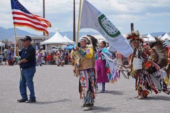PowWow memorial procession, American flag
