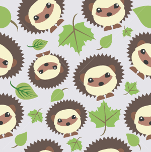 29.Hedgehog Seamless Pattern