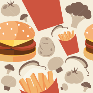 33.Junk Food Seamless Pattern