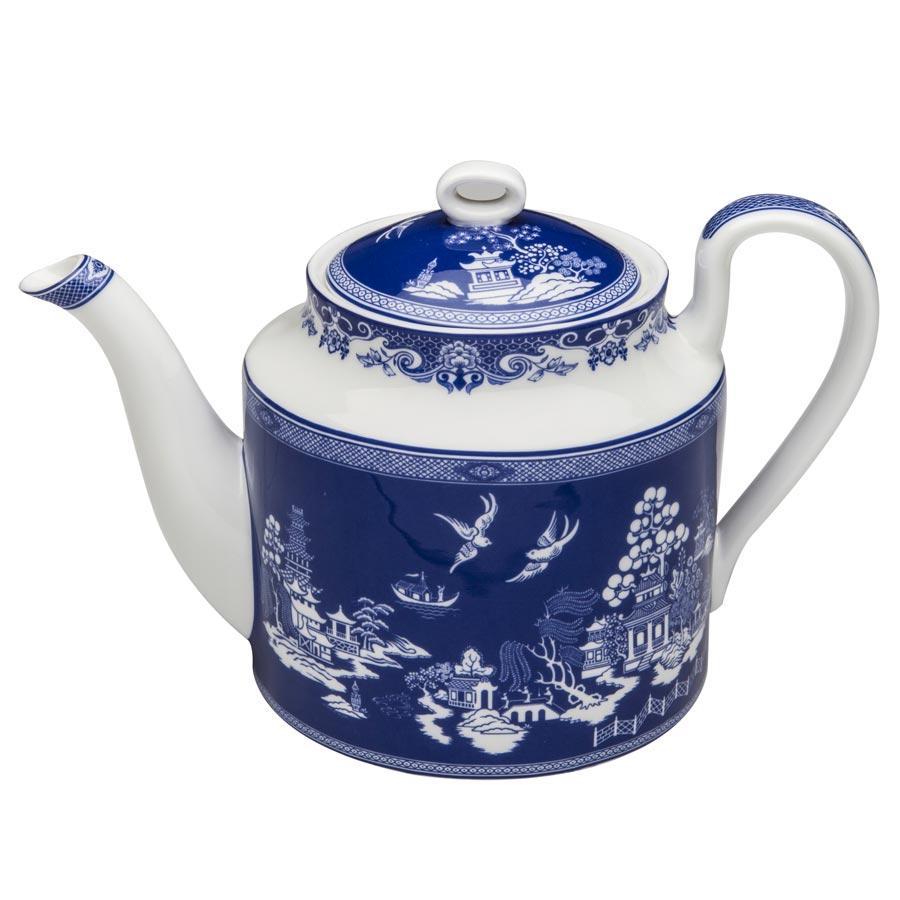 Teapot With Cup Blue Willow Bone China Teapot 4 Cup Simpson Vail Inc