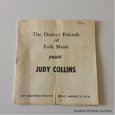 1966 Judy Collins Program with Bob Dylan Denver Concert Promo