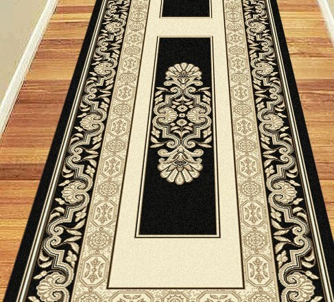 Hall Runners By The Metre Saray Rugs Hall Runner Border 80cm Wide Charisma Palace Black