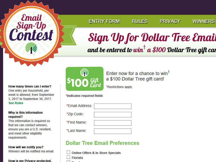 Dollar Tree Email Sign-Up Sweepstakes - Dollar Tree Application Form