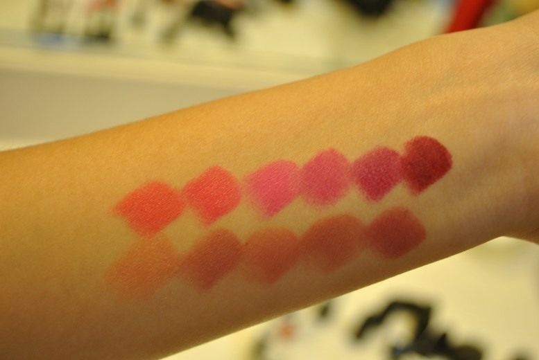 Swatches - Top Row L-R: Toying Around, Im-Passioned, Pink Pigeon, Flat Out Fabulous, Rebel, Diva Bottom row L-R: Shy Girl, Modesty, Kinda Sexy, Velvet Teddy, Twig