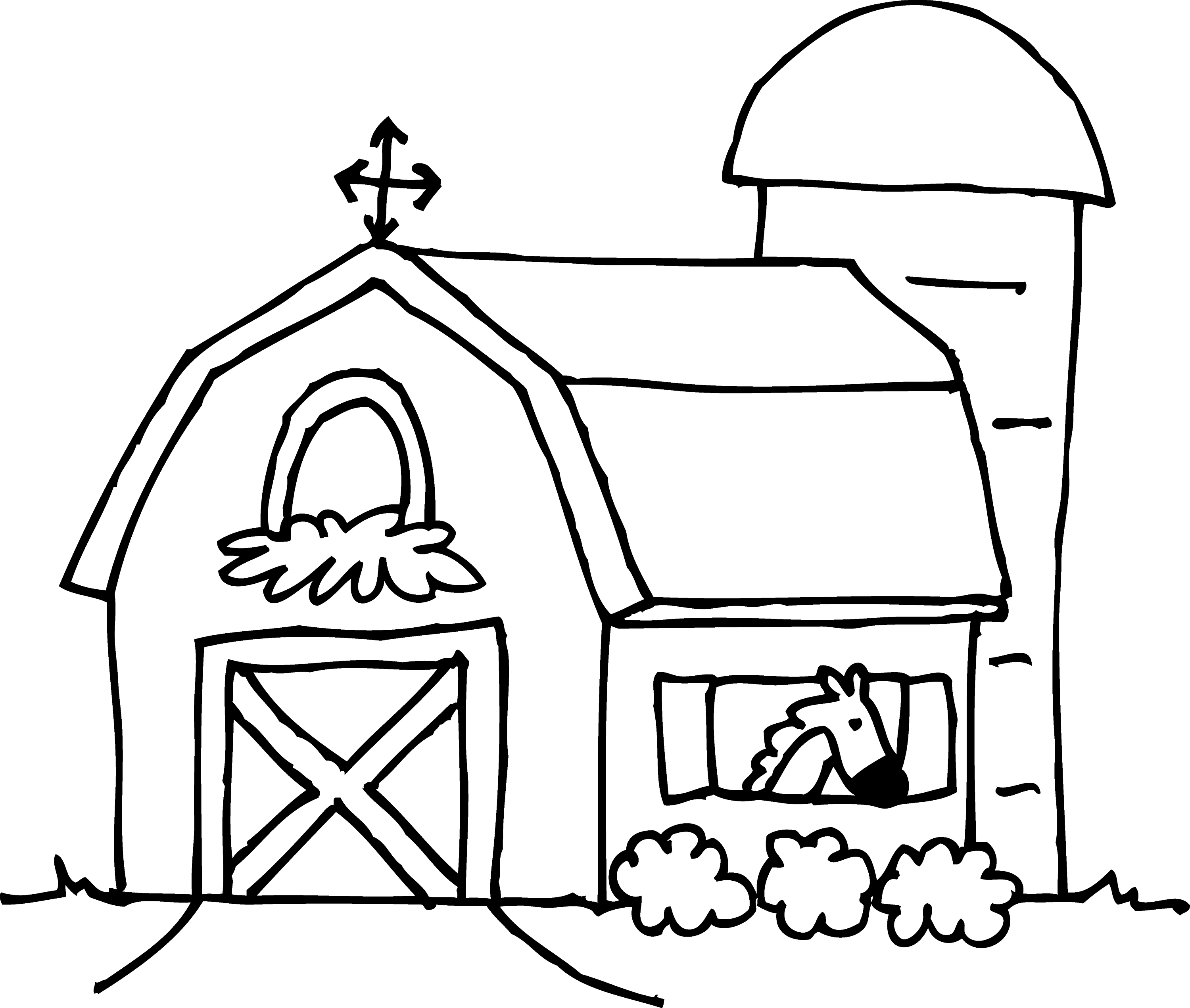 Barnyard Clipart Black And White Cute Barn Coloring Page Free Clip Art