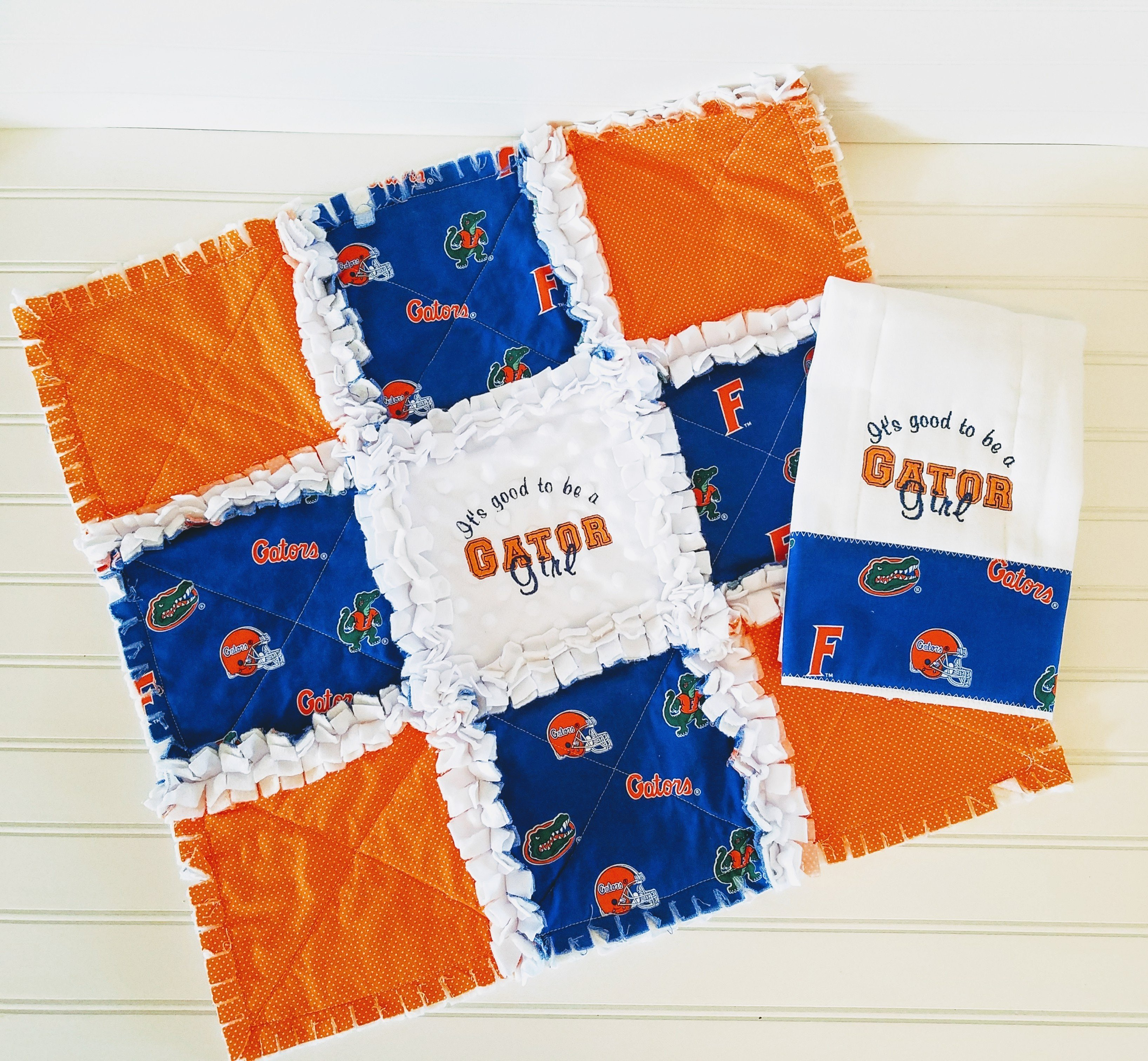 Patchwork Set Baby Baby Gift Set Mini Rag Quilt Embroidered Burp Cloth Gift Set Baby Girl Fl Gators University Of Fl Minky Rag Quilt