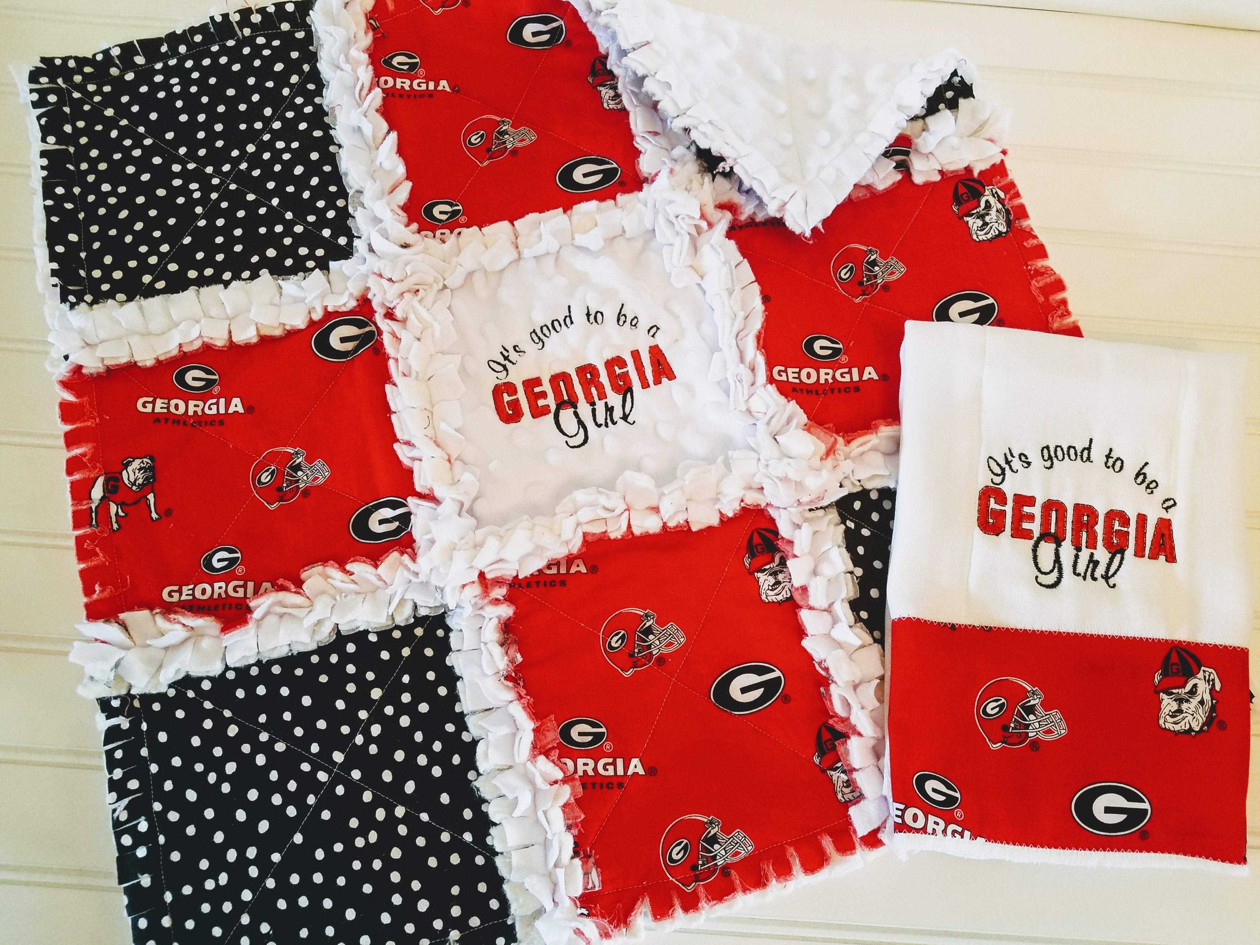 Patchwork Set Baby University Of Ga Baby Gift Set Mini Rag Quilt Embroidered Burp Cloth Gift Set Baby Girl Georgia Bulldogs Minky Rag Quilt