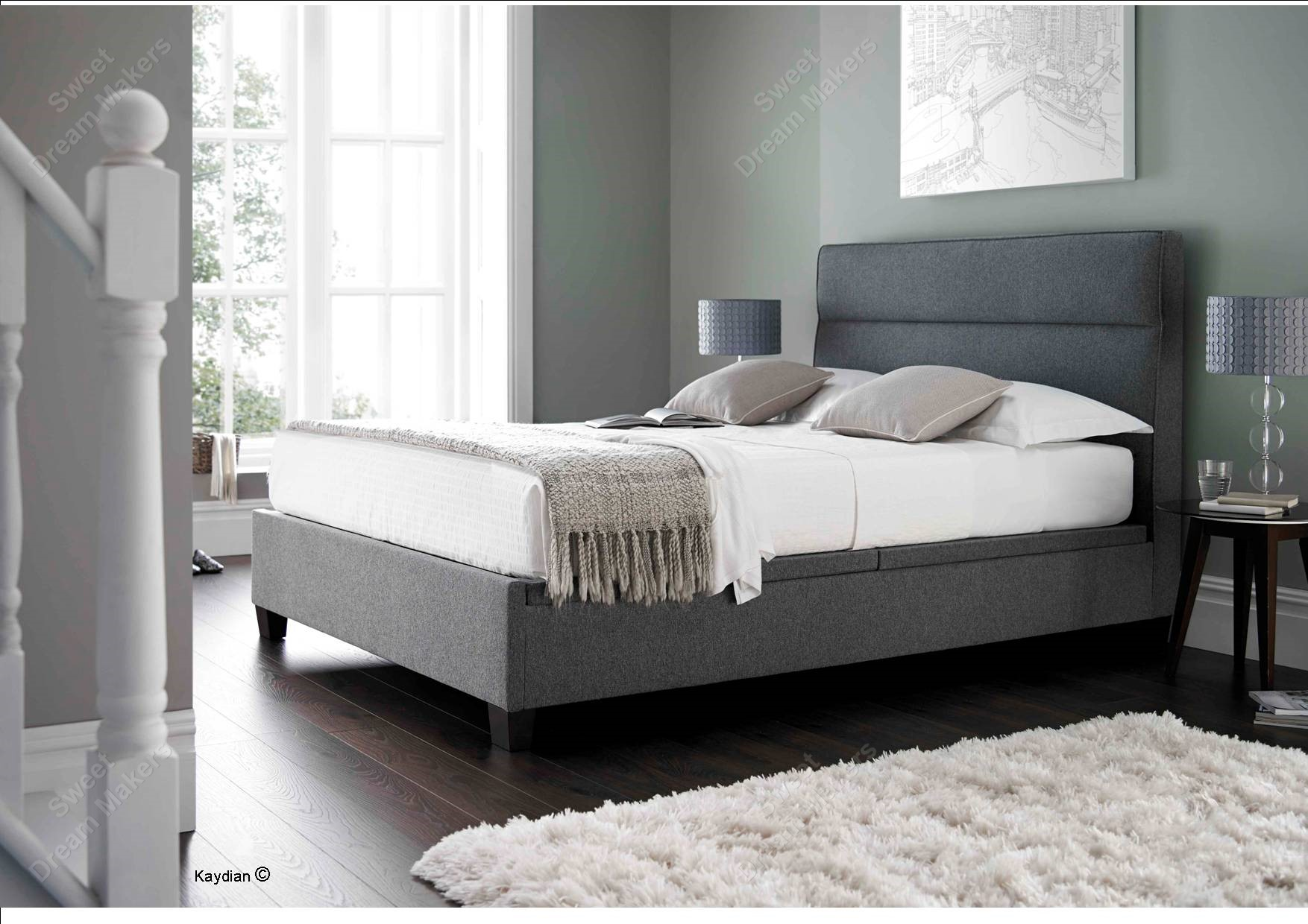 Fabric Bed Frames Chilton Smoke Fabric Double Ottoman Bed Frame