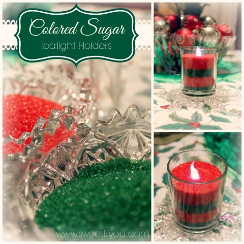 Colored Sugar Tea light holders sweetlilyou DIY craft for Holiday Decorating #Shop #HolidayAdvantEdge