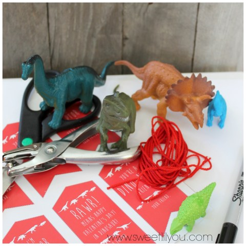 Supplies for cool dinosaur valentines