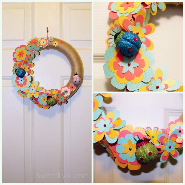 Spring and Summer Cut Paper Flower Wreath with Ladybugs #Silhouette #Michaels #Crafts #Decorations #wreaths