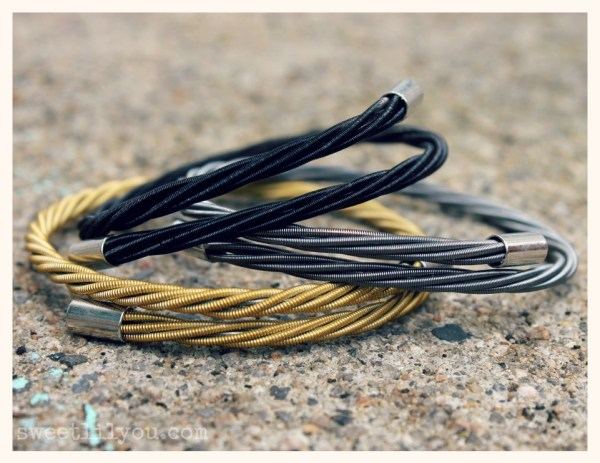 Wear Your Music bracelects come in many colors including traditional black, gold and silver