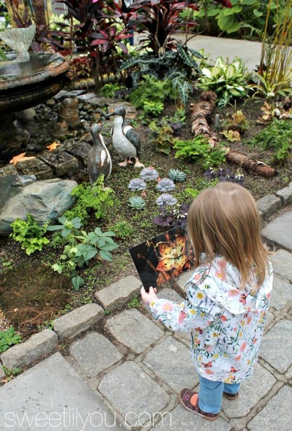 Avery enjoying the art at the Botanical Center