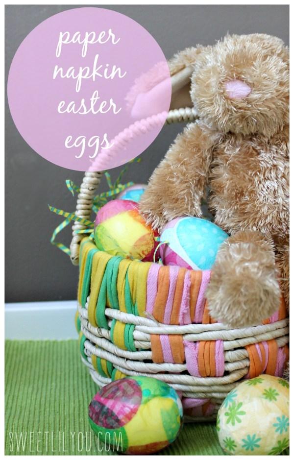 Paper Napkin Easter Eggs via sweetlilyou.com