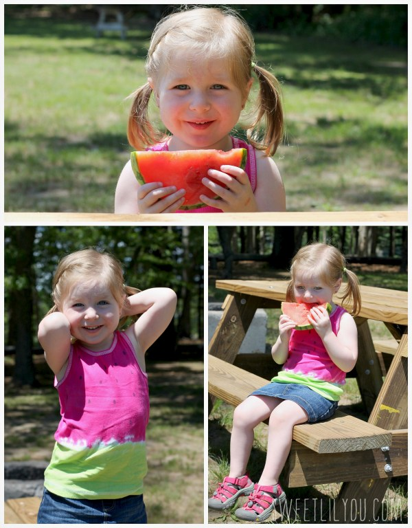 Photos of Avery posing and eating watermelon