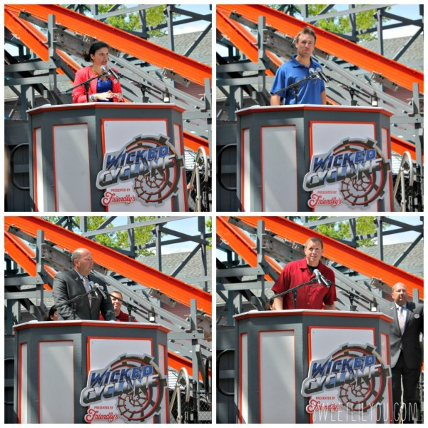 The presenters at the grand opening of Wicked Cyclone Six Flags New England