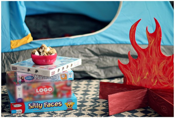 Indoor camping fun Games and s'mores