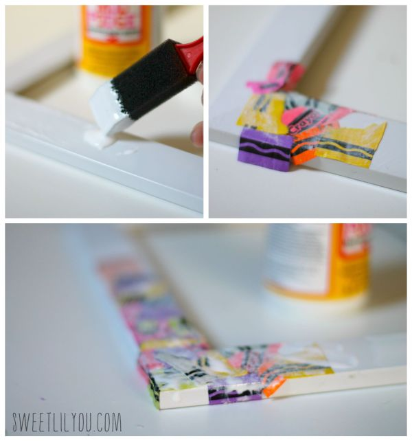 Steps for calendar crafts with crayon wrappers
