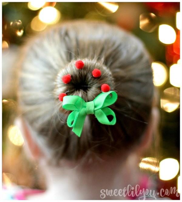 Wreath Bun Christmas Hairstyle