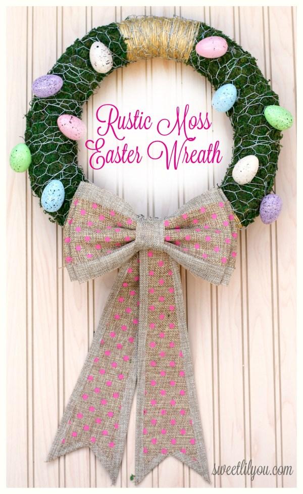 DIY Rustic Moss Easter Wreath