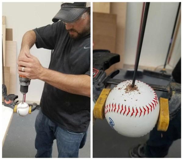 Drill holes in baseballs