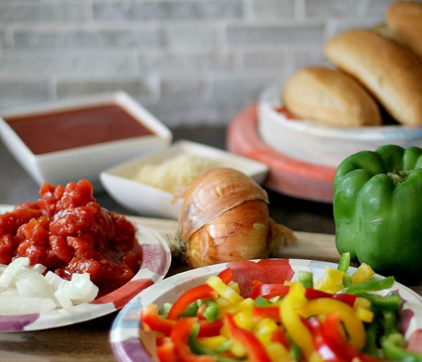 Ingredients for Suasage and Peppers Sloppy Joes