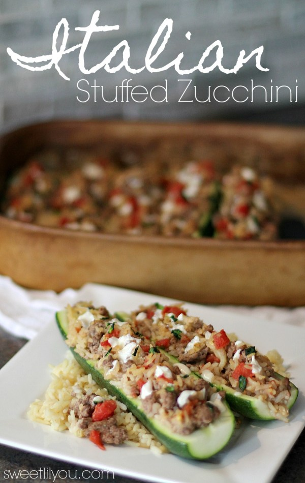 Easy Italian Stuffed Zucchini with Parmesan Rice, Ground Beef, and Tomatoes