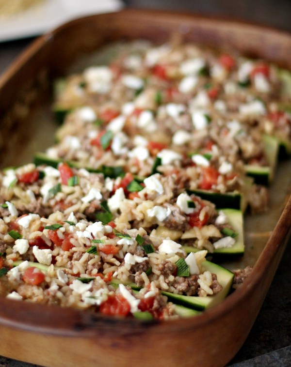 Stuffed zucchini topped with mozzarella