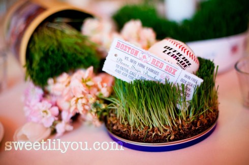 baseball wedding grass flowers centerpiece ball ticket