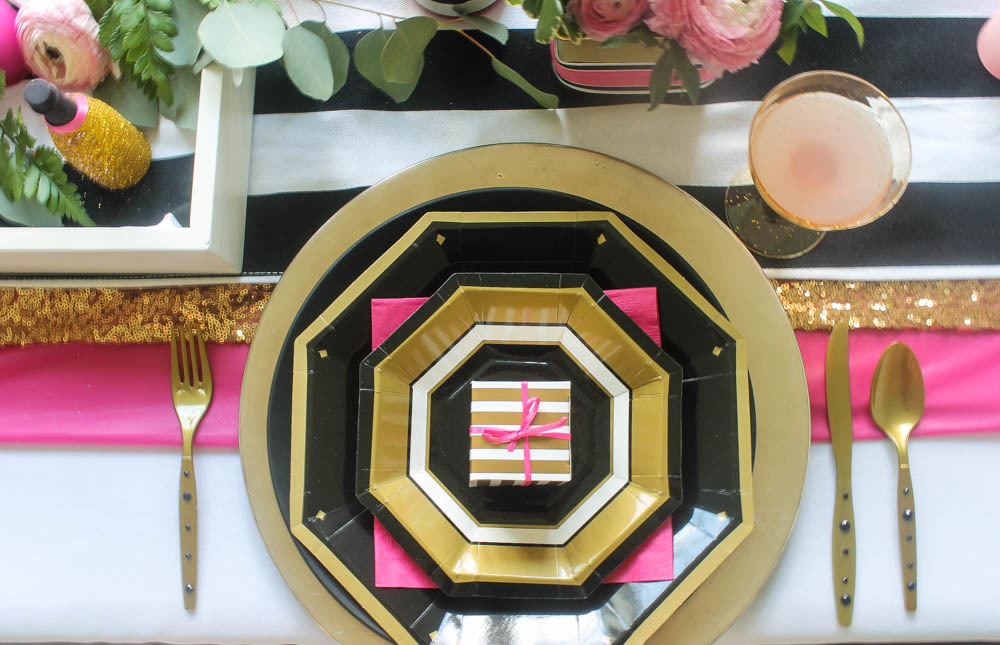 Hot Pink, Black and White Wedding Tablescape - pink black and white weddings