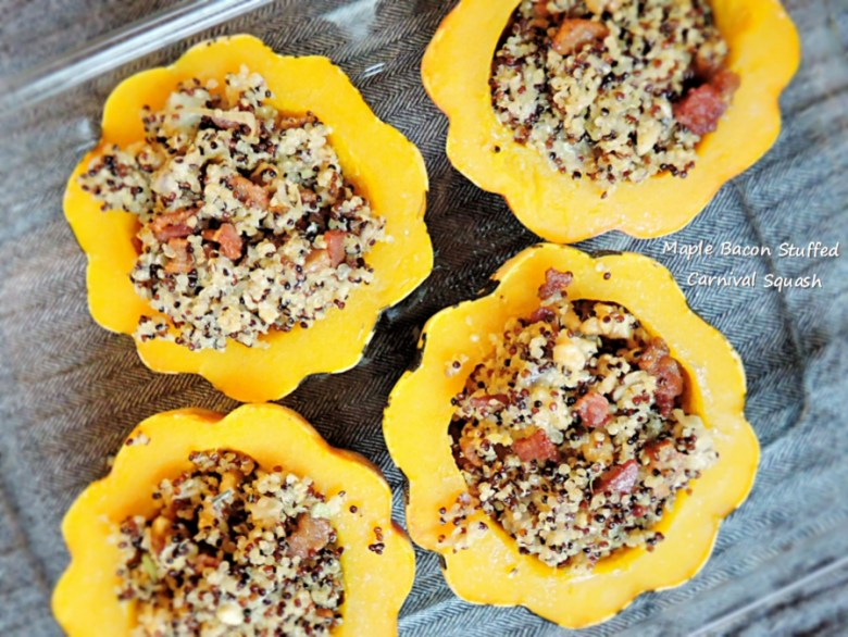 Maple Bacon Stuffed Carnival Squash - Sweet Poppy Seed