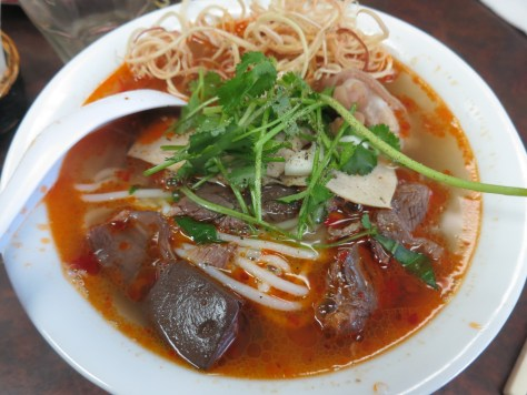Spicy Vietnamese Vermicelli with Sliced Pork & Beef in Soup - Bun Bo Hue: Well-flavoured, tasty, authentic. Taste hints of pineapple