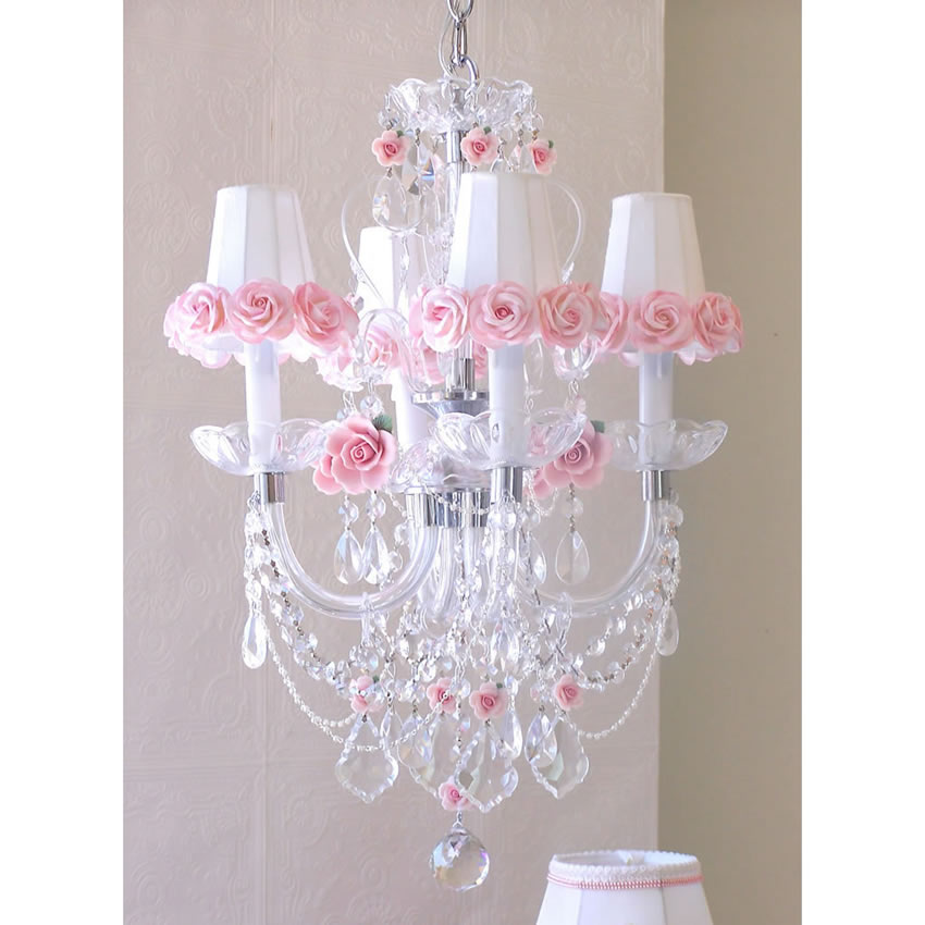 Chandelier Lamp 4 Light Crystal Chandelier W/ Pink Porcelain Rose Shades