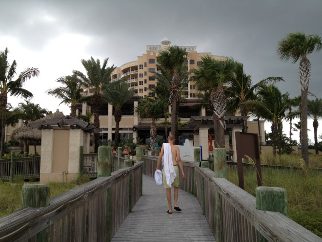 walking back ot beach club