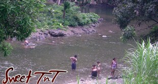 Bathers in Shark River, Toco, Matelot in sweet T&T for Sweet TnT Magazine, Culturama Publishing Company, for news in Trinidad, in Port of Spain, Trinidad and Tobago, with positive how to photography.