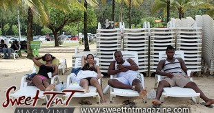 Friends on lounge chairs at Maracas the popular beach on sand with drinks, Sweet T&T, Sweet TnT, Trinidad and Tobago, Trini, vacation, travel