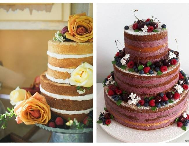 ombre unfrosted naked cake