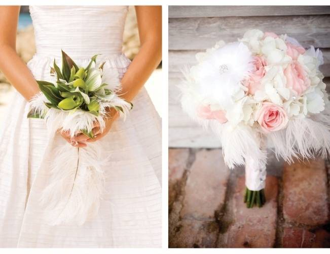 fluffy white feather bridal bouquet