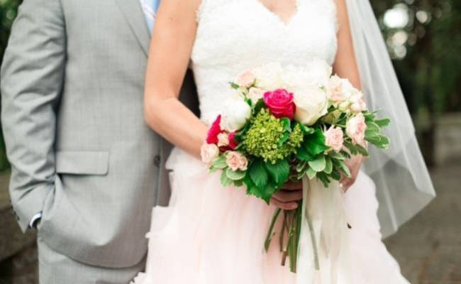 Vibrant Spring Garden Wedding Inspiration with Blush Gown