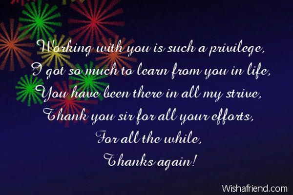Thank You Note to Boss  Quotes for Boss